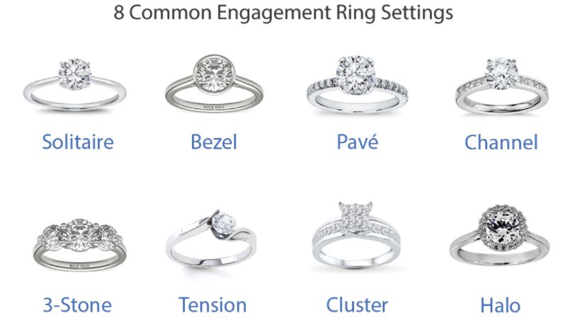 common engagement ring settings